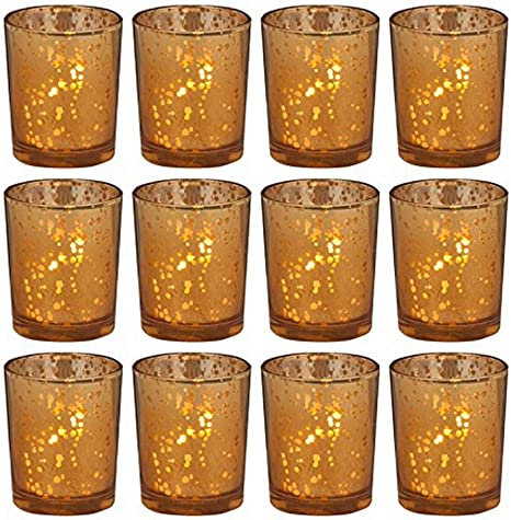 Amazon Com Biedermann Sons Hj187am 12 Count Rustic Glass Votive Candle Holders Amber Home Kitchen