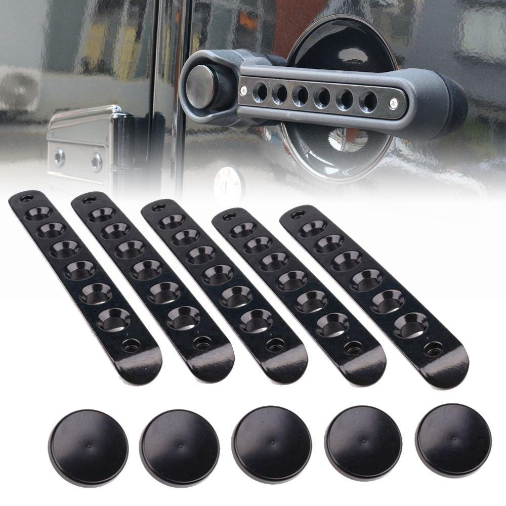 Athiry 5Pcs(Set)Aluminum Side Door Handle Inserts Cover Push Button Knobs/Trim Decorations for Jeep Wrangler JK Unlimited 4 Door 2007-2017 Black Front Rear Door Insert