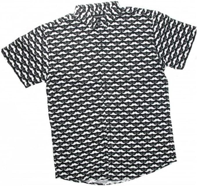 TRANKILO Camisa Negra con Estampado de Moustache (L): Amazon ...