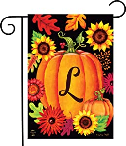 "Briarwood Lane Fall Pumpkin Monogram Letter L Garden Flag 12.5"" x 18"""