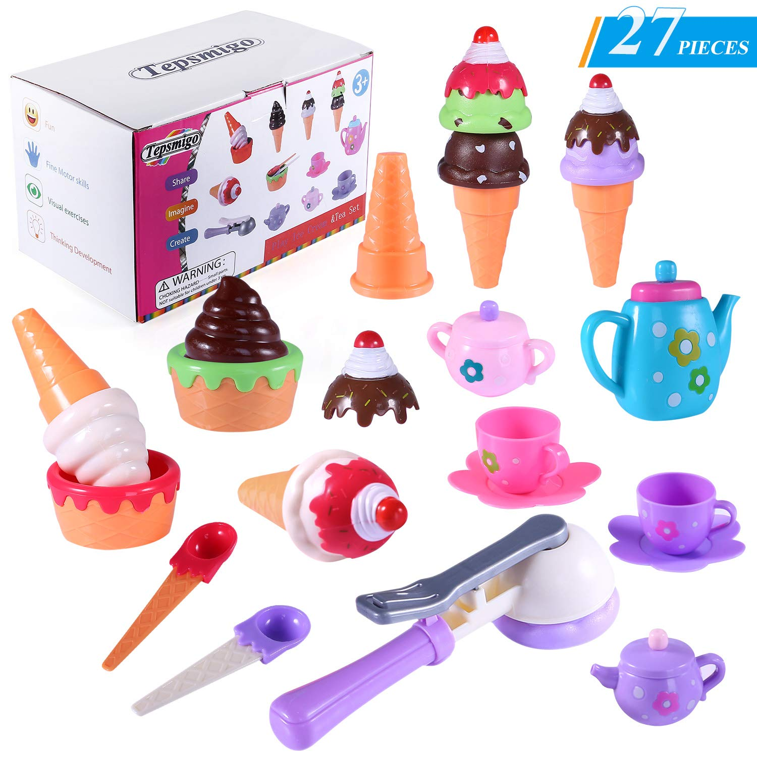 TEPSMIGO Plastic Stack Ice Cream Toy with Play Tea Set, 27 PCS Colored Pretend Food Educational Gifts for Toddler Children Age 3+ Boys Girls