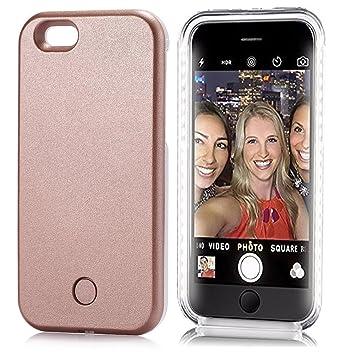 1632881f862 iPhone 7 caso, iluminado funda protectora Luz LED Hasta selfie caso con  Cable USB (para iphone 7, oro rosa), color oro rosa: Amazon.es: Electrónica
