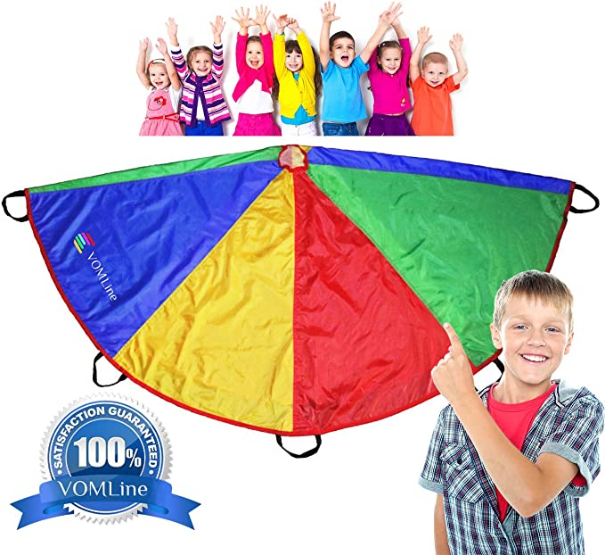 with High-Grade Stitching VOMLine Play Parachute 12 ft for Kids with 8 16 Dirt Resistant Handles for Party Games,Tent Picnic Mat Blanket,Proper Selection of Matching Colors