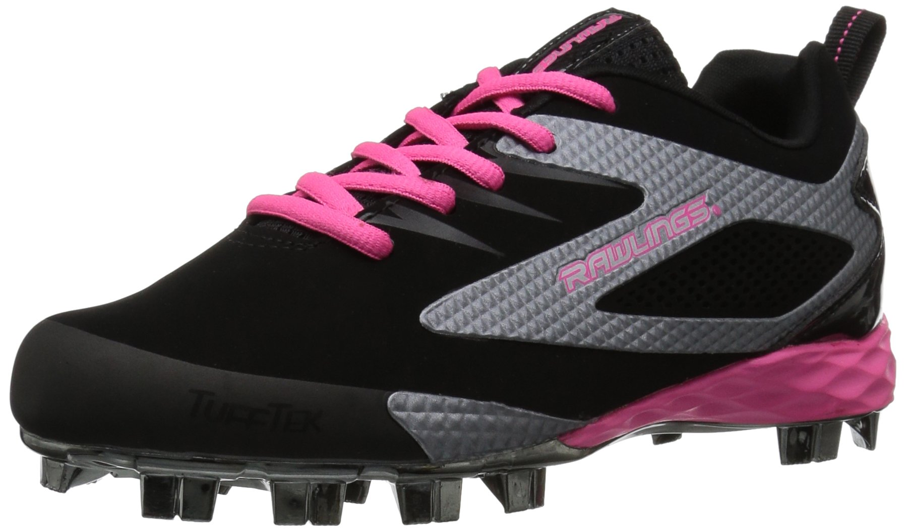 RAWLINGS Girls' Capture Baseball Shoe, Black/Pink, 4 M US Big Kid by RAWLINGS