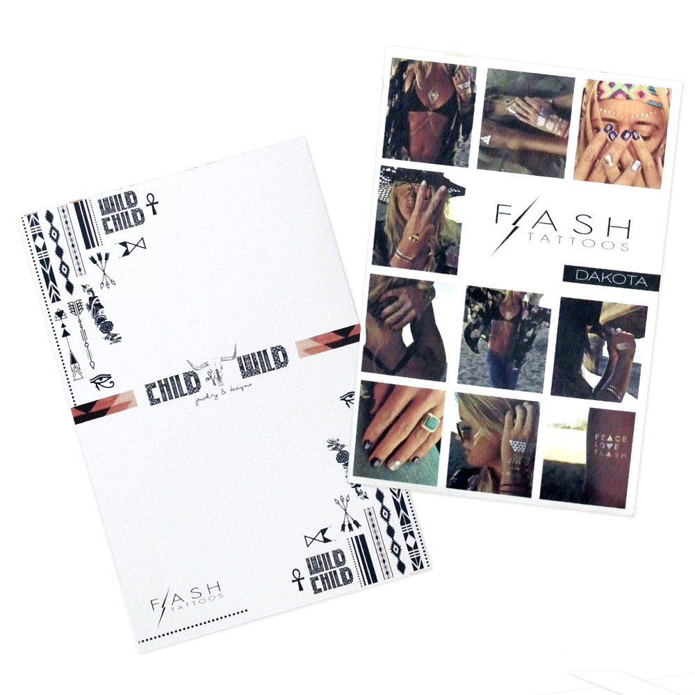 FESTIVAL BUNDLE from Flash Tattoos includes the Child of Wild pack (4-sheets) and Dakota pack (4-sheets) over 70 premium festival inspired waterproof metallic temporary jewelry tattoos by Flash Tattoos