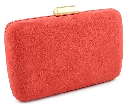 0894b8e1cce Mis Bolsos Online bolso de fiesta Antelina coral: Amazon.es: Zapatos y  complementos