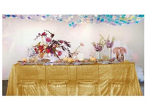 4a1e1407b8fe Amazon.com  ShinyBeauty Sparkly Gold-Sequin TableCloth-70x144-Inch ...