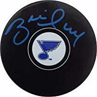 $39 » Brett Hull Autographed Official St. Louis Blues Logo Puck In Blue Beckett BAS Stock #152345