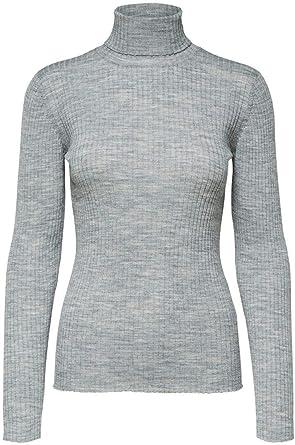 SELECTED FEMME Slfcosta LS Knit Rib Rollneck Noos Camisa Manga Larga para Mujer
