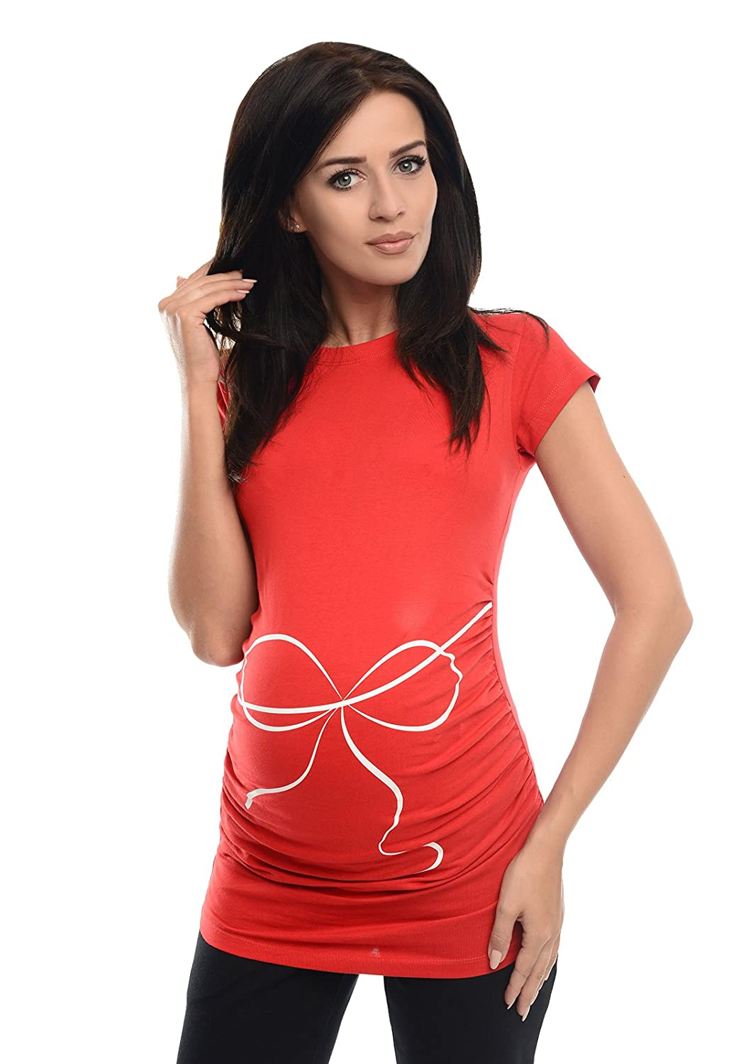 Purpless Maternity Printed Cotton Top Pregnancy T-Shirt Tee for Pregnant Women Slogan Bow Print 2007