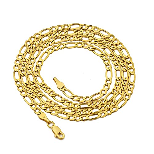 d0818e16a3d7a LoveBling 14K Yellow Gold 3mm Figaro Chain Necklace 3+1 Link Pattern