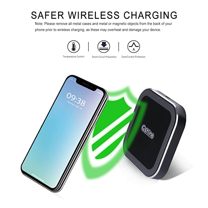 Wireless Charger, Gshine Portable 10W Qi Wireless Charging Pad for iPhone  X, iPhone 8/ 8 Plus, Nexus 5 / 6 / 7, and All Qi-Enabled Devices, Provides