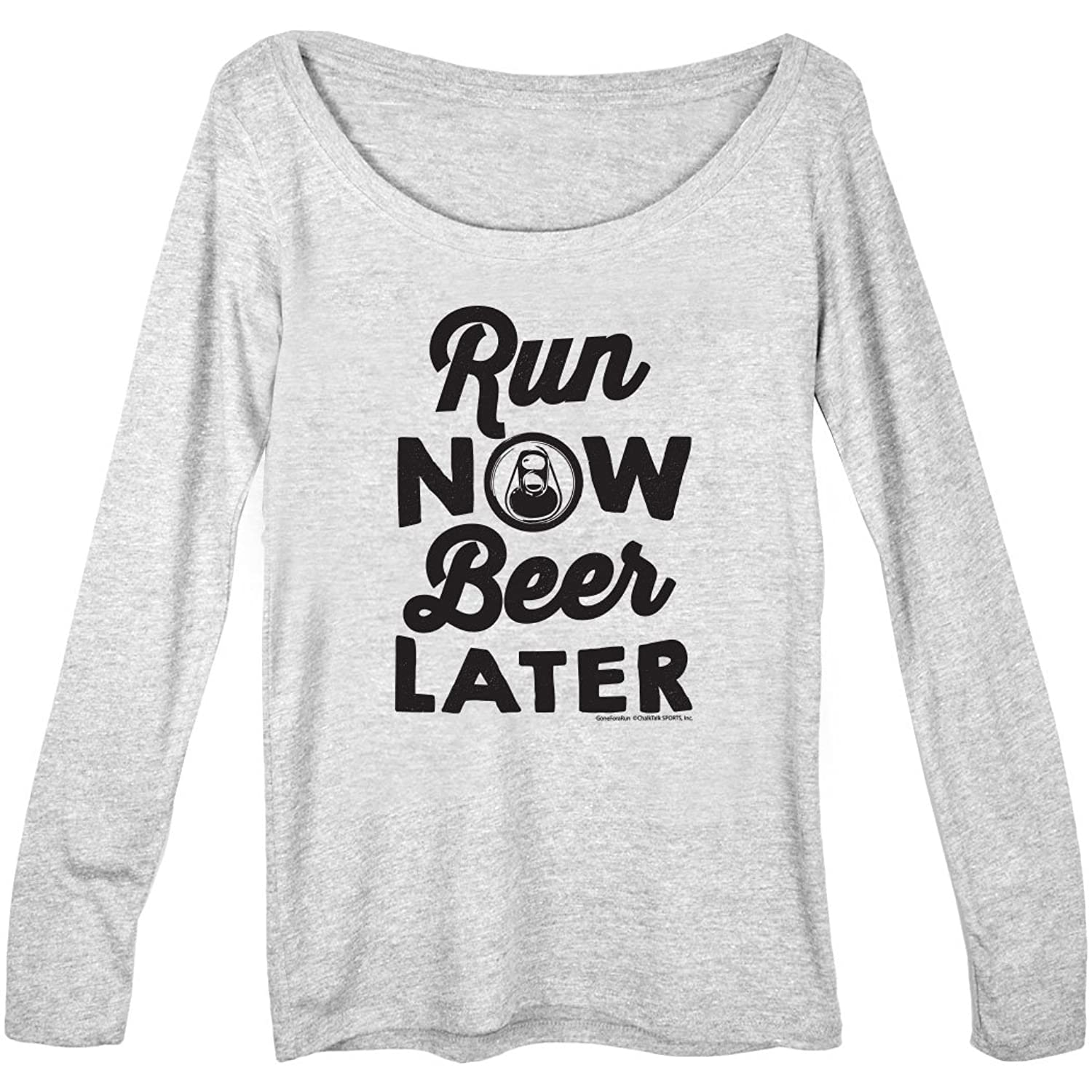 Women's Runner Scoop Neck Long Sleeve Tee Run Club Run Now Beer Later