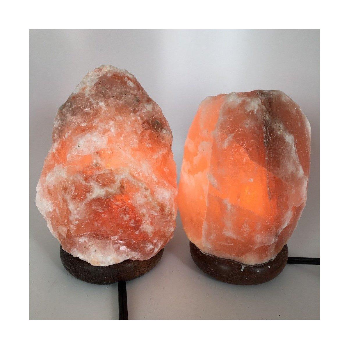 2x Himalaya Natural Handcraft Rough Raw Crystal Salt Lamp,6.75''-7.5''Tall, HL61