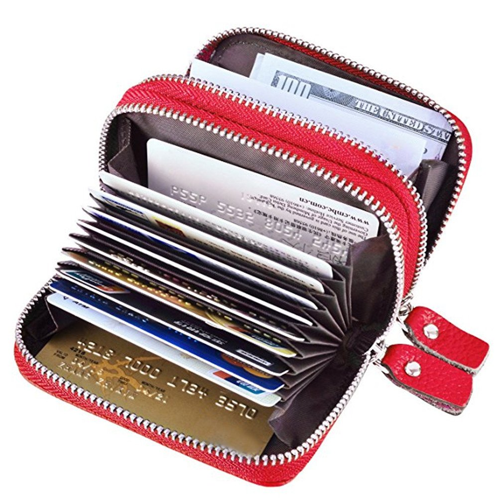 TraderPlus Women's RFID Blocking Leather Zipper Card Wallet Small Purse Credit Card Case Holder for Christmas Gift (Black) (Black)