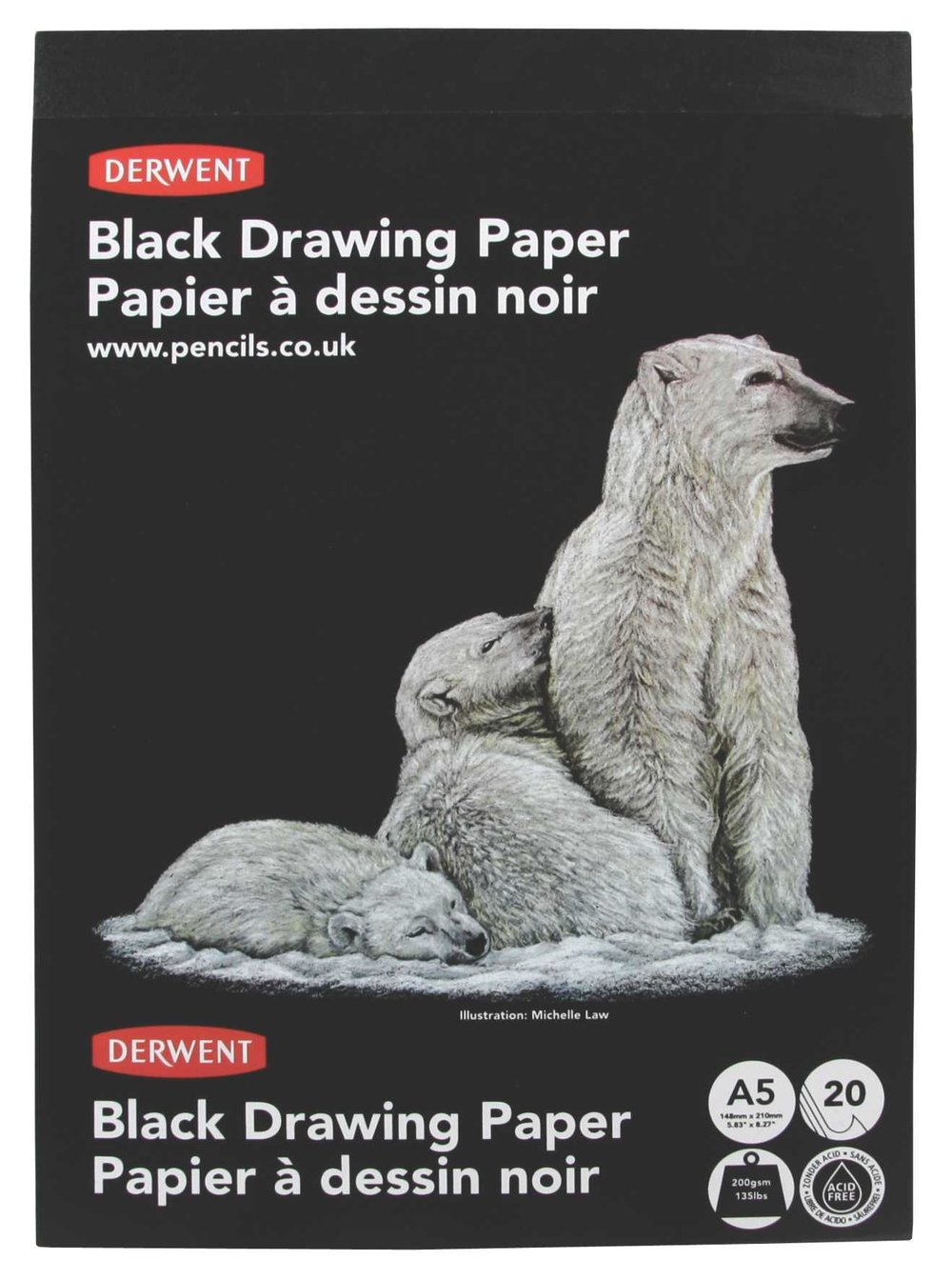 Derwent Sketch Pad, A4, Portrait, 8.27 x 11.69 Inches Page Size, 20 Black Pages (2300468) ACCO Brands