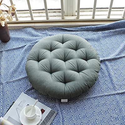 seat cushion Solid Color Floor Cushion,Round Thickened Washable Linen Chair Cushion for Yoga Meditation Outdoor Office Green 43x43cm(17x17inch): Home & Kitchen