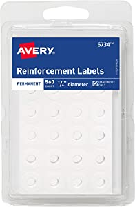 AVERYWhite Self-Adhesive Reinforcement Labels, 1/4 Round, 560 Labels per Pack, Case Pack of 36 (06734)