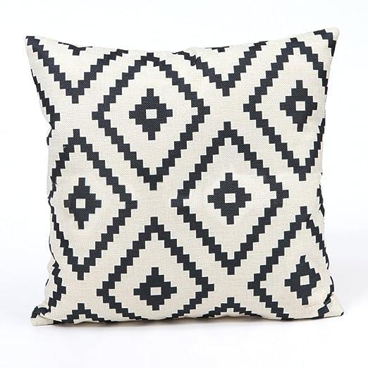 Cupcinu® Funda de Almohada de algodón 45 x 45 cm geométrico Negro ...