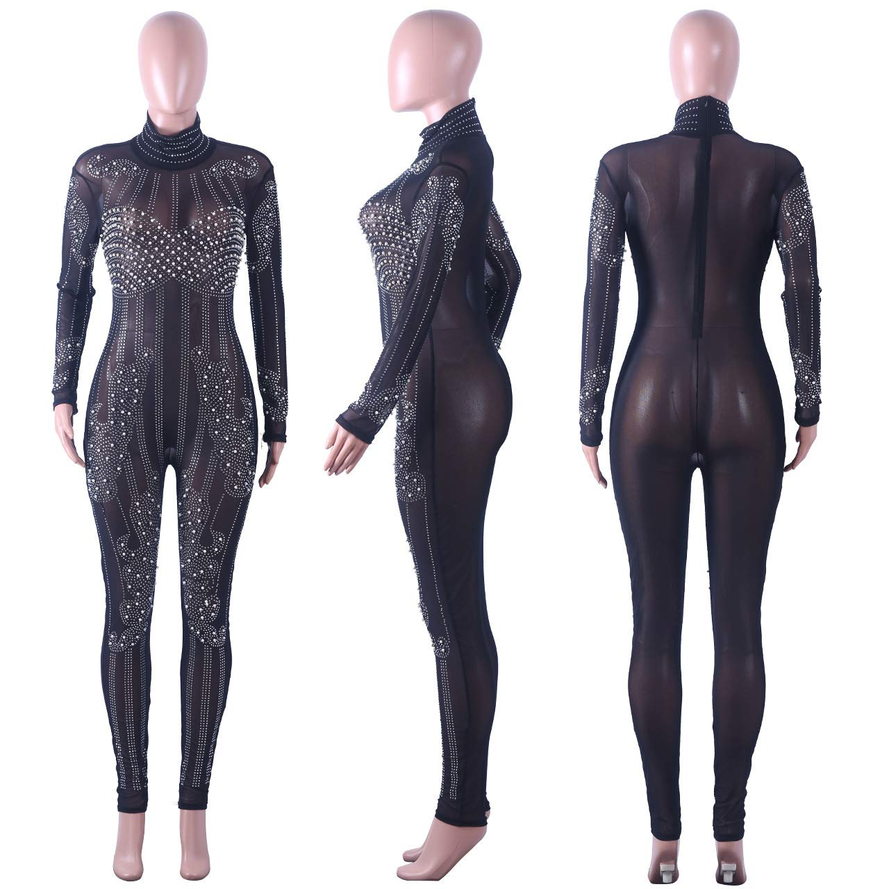80edcdf4490 Amazon.com  Chemenwin Women s Sexy Mesh See Through Sequin Zipper Rhinestone  Bodycon Clubwear Jumpsuit Rompers One Piece Overall  Clothing