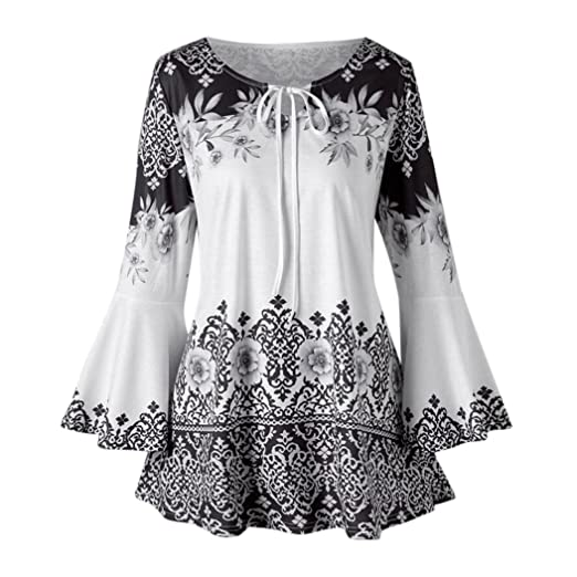 d9b41402b796 Clearance Fashion Plus Size Clothing for Women - vermers Womens Printed  Flare Sleeve Tops Blouses Keyhole