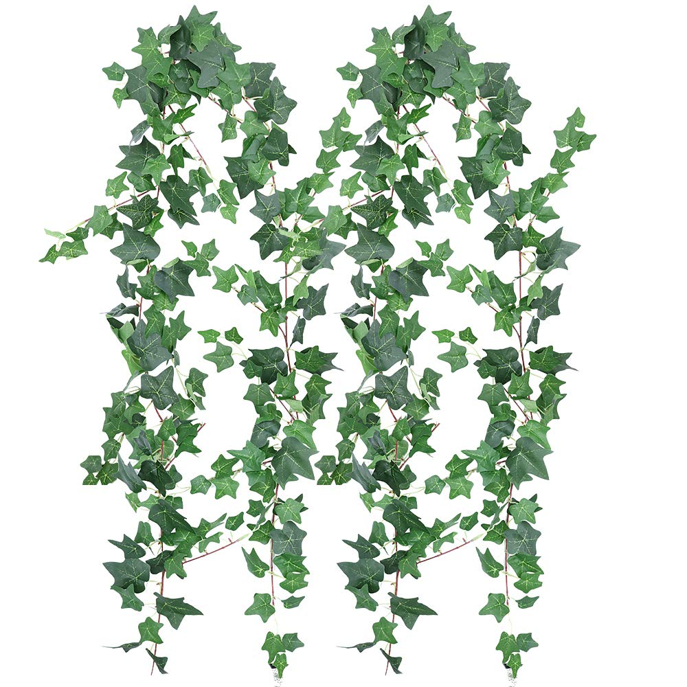 XiaZ 5.9' Artificial Ivy Leaves Greenery Garlands, 2 Pack Fake Ivy Leaf Plant Garland Wedding Backdrops Garland in Green for Tables Chairs Wedding Arches Spring Backyard