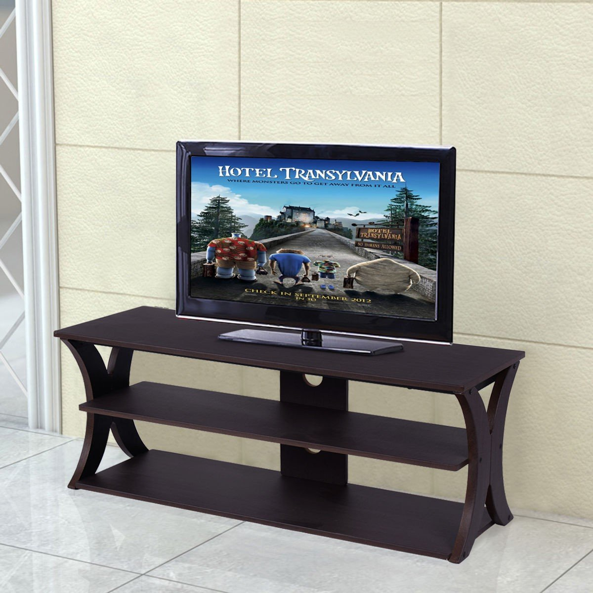 3-Tier TV Stand Brown Home Media Furniture Table With Ebook
