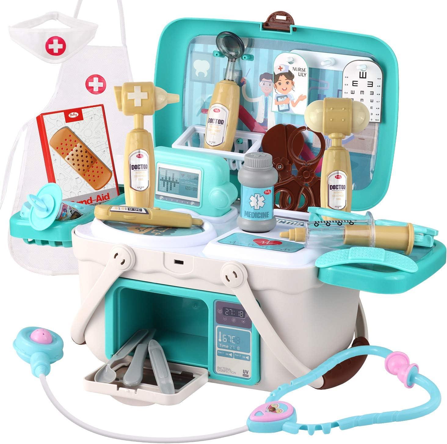 Satkago Maletín Medico, 33 Piezas Doctor Medical Pretend Role Play Juguetes educativos Incluye Disfraz de Estetoscopio Disfraz para niños pequeños Niñas 3 años en adelante