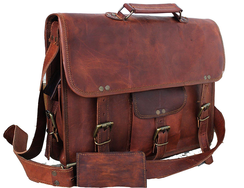 DHK Genuine Vintage Brown Leather Messenger Shoulder Laptop Bag for Upto 15-Inch Laptop Leather Messenger Bag for Men and Women