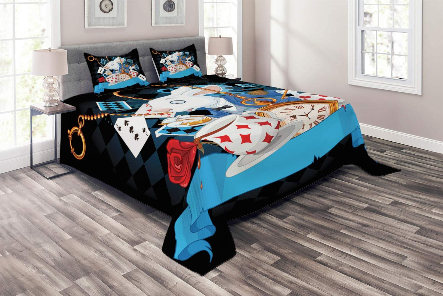 Ambesonne Alice in Wonderland Coverlet, Rabbit Motion Cups Hearts and Flower Character Alice Cartoon Style, 3 Piece Decorative Quilted Bedspread Set with 2 Pillow Shams, Queen Size, Black Blue