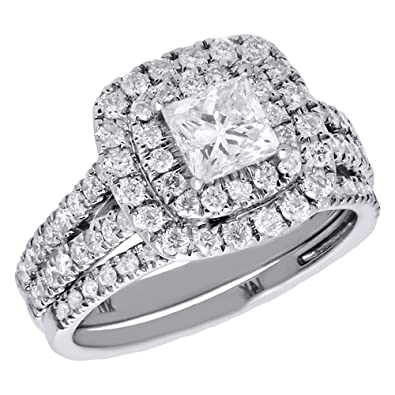 Amazon Com 14k White Gold Princess Solitaire Diamond Split Shank