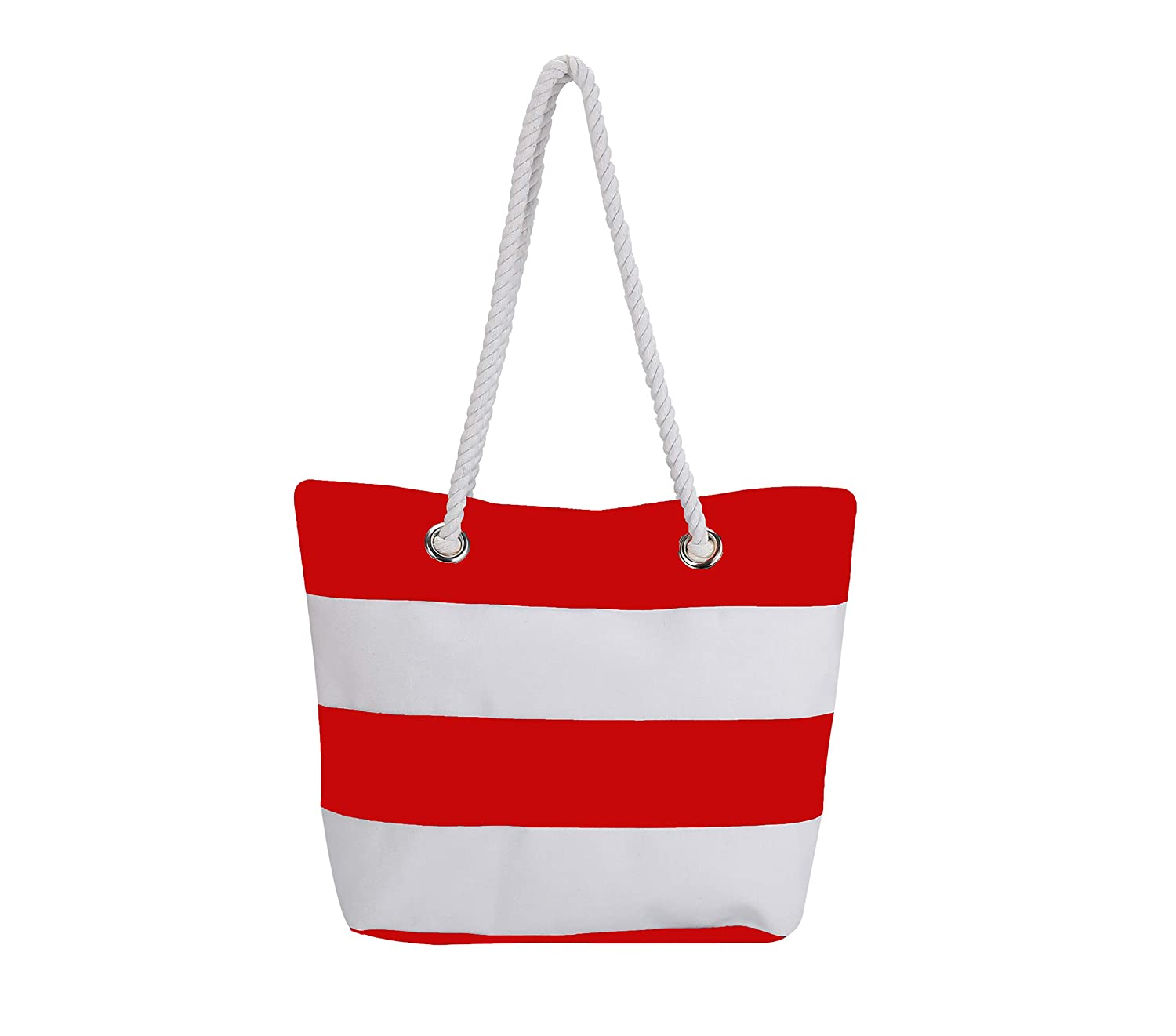 Red Beach Bag with Inner Zipper Canvas Tote Bags for Women