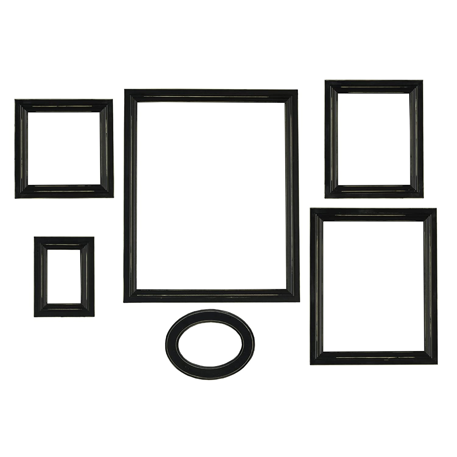 Amazon.com - Melannco Distressed Empty Frame Set, Black, 6-Count -