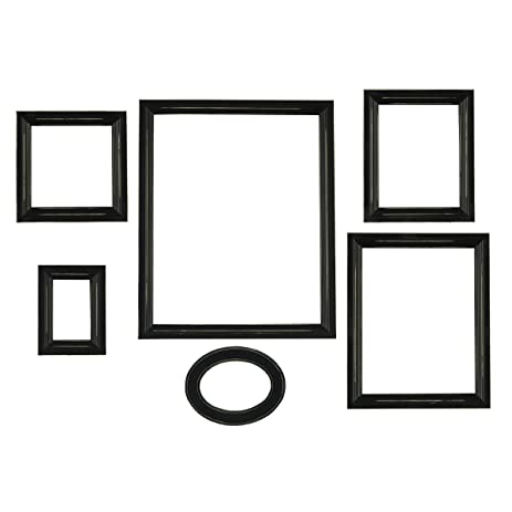 melannco distressed empty frame set black 6 count - Empty Picture Frame