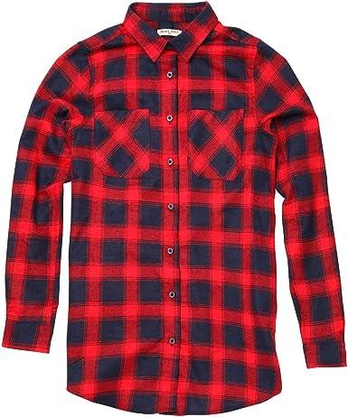 Slater - Camisa de Manga Larga a Cuadros, Color Rojo y Azul ...