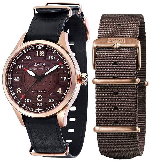 AVI-8 Hawker Hurricane - Reloj para Hombre, Color Negro y marrón: Amazon.es: Relojes