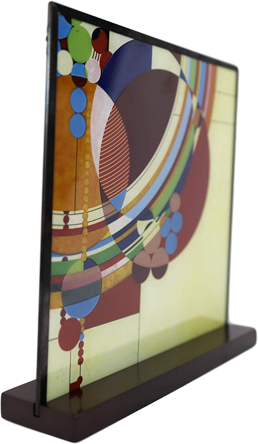Ebros Frank Lloyd Wright March Balloons Celebration Stained Glass Art Panel Wall Hanging Decor Or Desktop Plaque with Wooden Base Stand 10 Tall