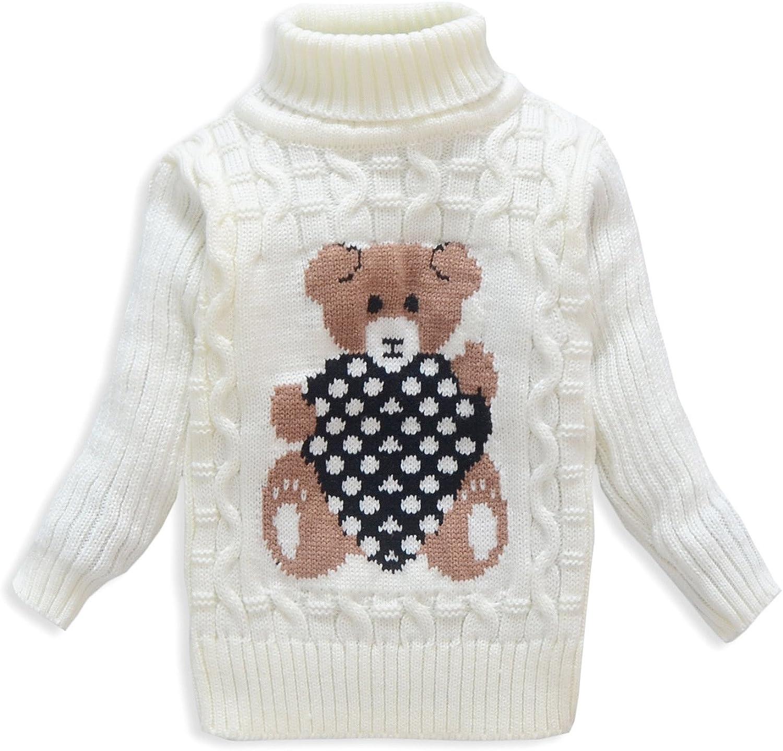 VIFUUR Bambino Maglione Ragazzo Ragazzo Maglione Turtleneck Bear per Natale