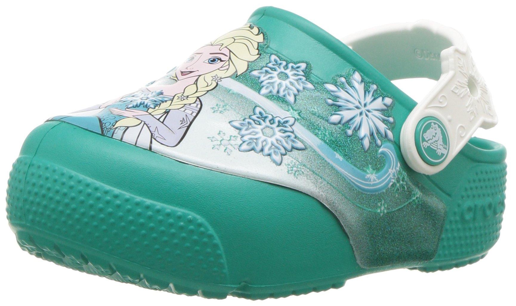 Crocs Girls' FL Frozen Lights K Clog, Tropical Teal, 11 M US Little Kid