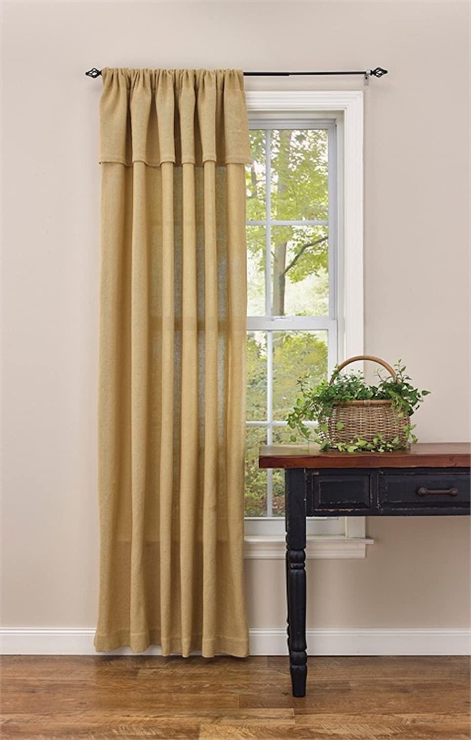 Burlap Rod Pocket Curtain Panel with Attached Valance 56W x 84L