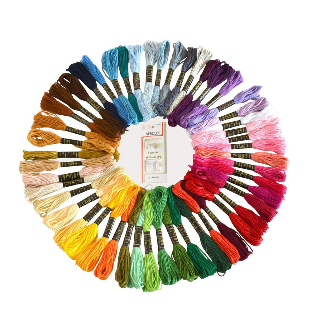 YiwerDer 50 Skeins Embroidery Floss, Rainbow Color Cross Stitch Thread, Sewing Threads with Free Embroidery Needles