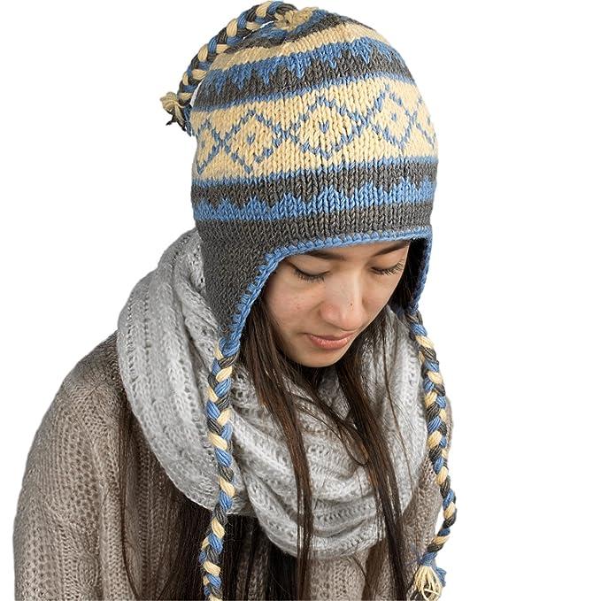 851cfa354f3bec Tribe Azure Fair Trade Warm Winter Soft Wool Hat Fleeced Lined Cap ...