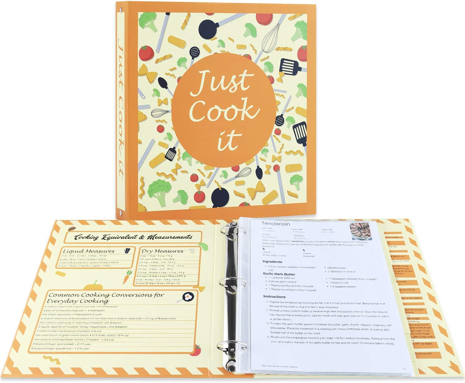 """Soligt Full Page Recipe Binder Kit with 30 Page Protectors, 12 Color Dividers and 24 Labels, 11.5"""" x 11"""" - Great to Store and Organize your Printed Recipes"""
