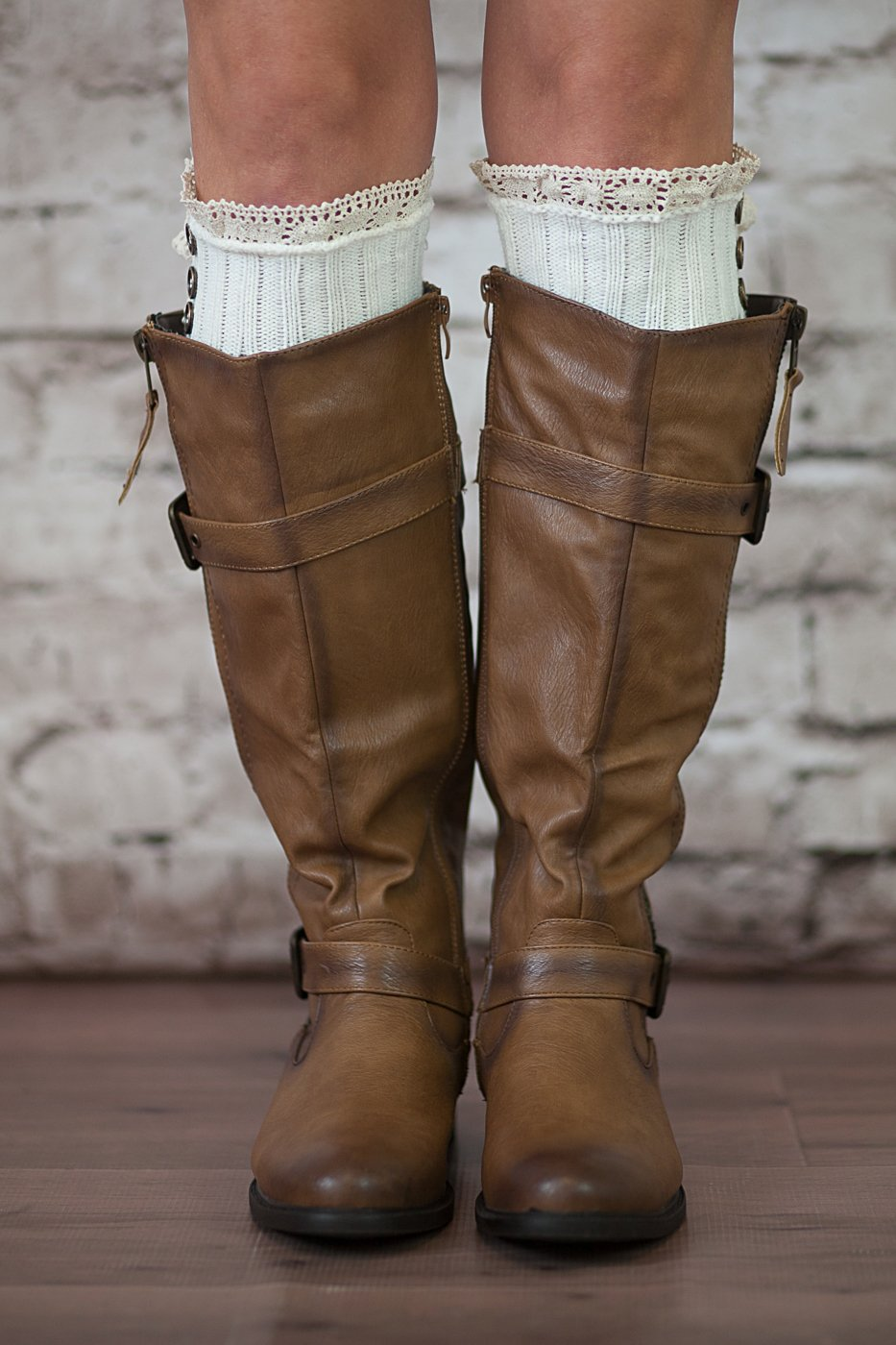 Boot Cuffs Vintage 3 Button Style Women's Boutique Socks Brand by Modern Boho Ivory by Boutique Socks (Image #2)