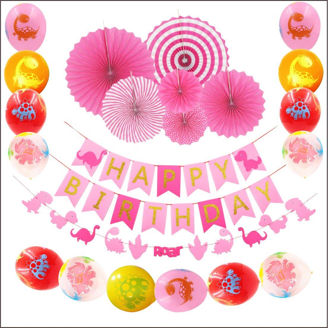 e6f61a95 Dinosaur Party Decorations for Baby Girls-1 Happy Birthday Banner, 1 Dino-mite  Garland,6 Pink Paper Fans, 12 Dino Balloons-Birthday Supplies and Favors  for ...