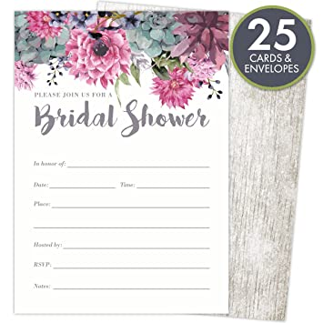 Amazon bridal shower invitations set of 25 cards and envelopes bridal shower invitations set of 25 cards and envelopes fill in style vintage rustic filmwisefo Image collections