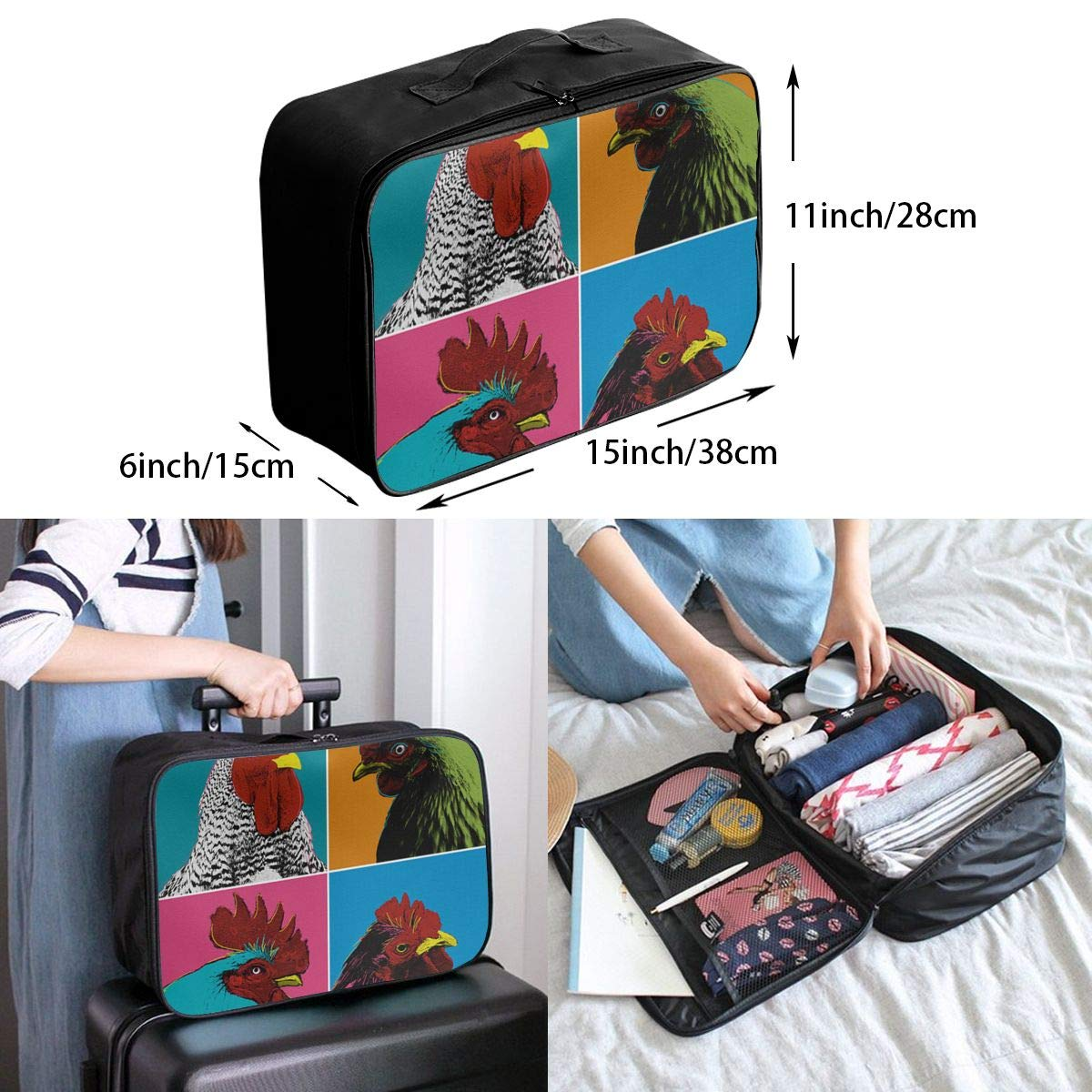 Women /& Men Foldable Travel Duffel Bag Colorful Cock For Luggage Gym Sports