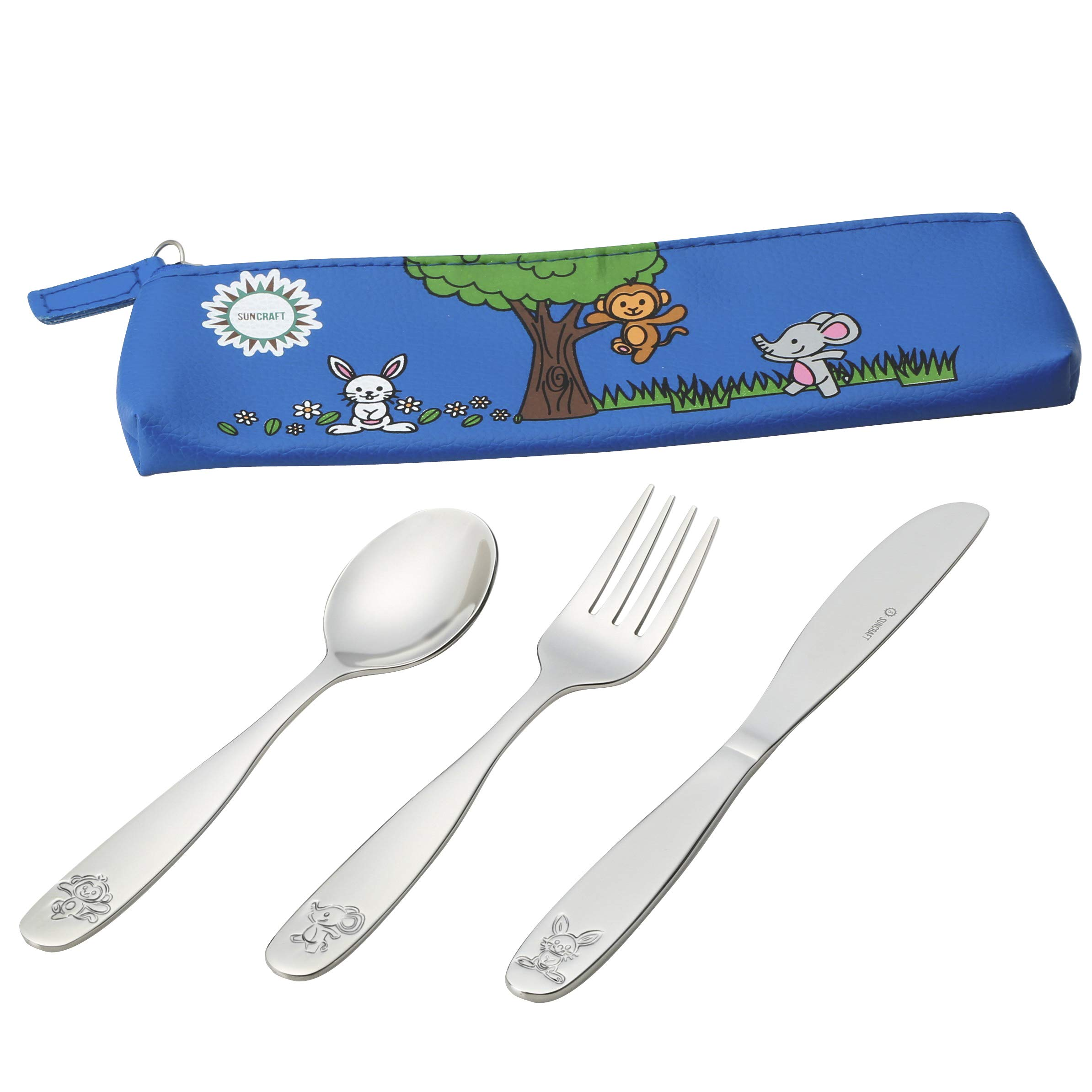 18/10 Stainless Steel Kids Silverware, Child and Toddler Safe Cutlery Flatware - 12 Piece Eating Utensil Set with 4 Knives, 4 Forks, 4 Spoons - Portable Travel Carrying Pouch Included by SUNZIO