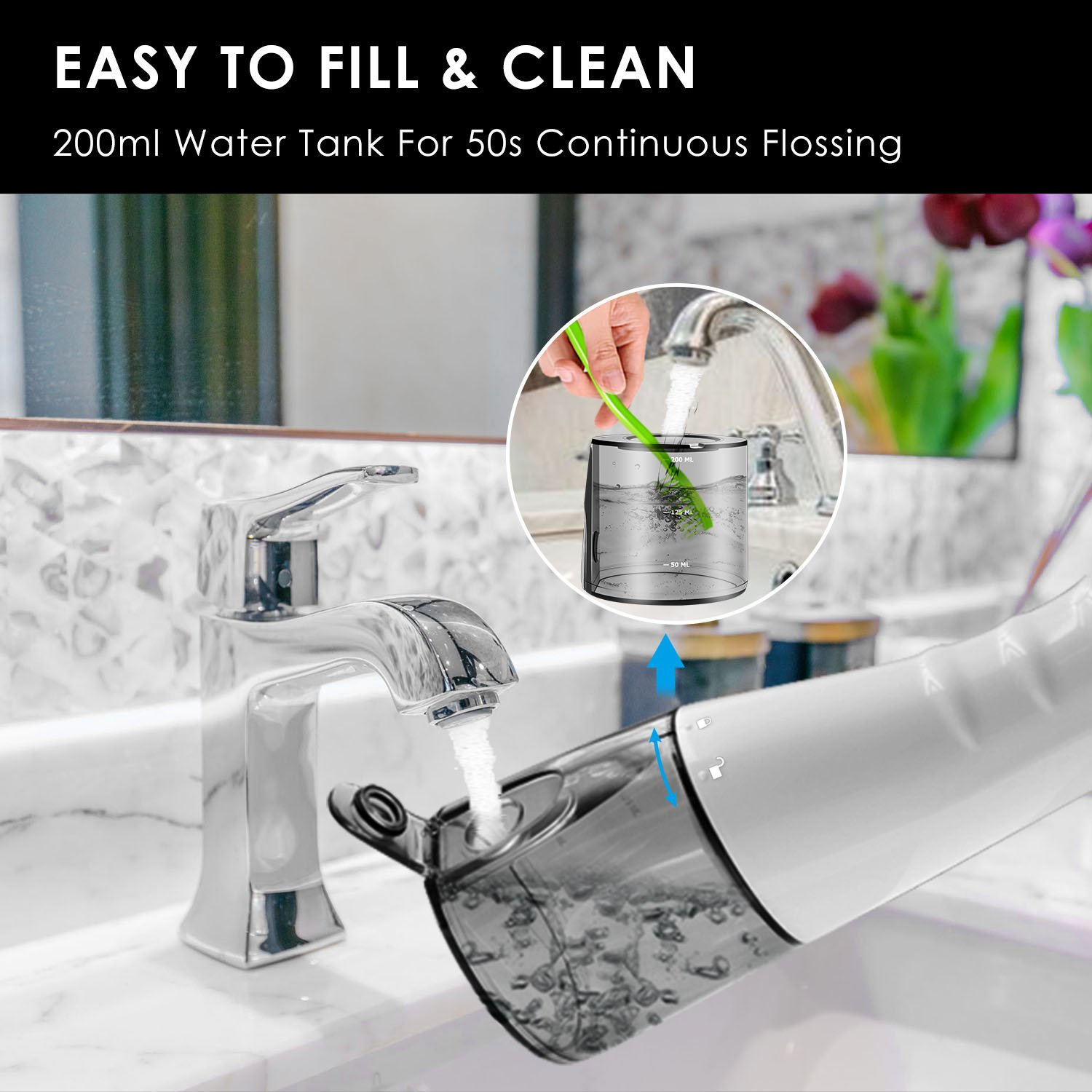 [2018 UPGRADED] Cordless Water Flosser Oral Irrigator - Zerhunt Professional Rechargable Portable Dental Water Jet With 3 Jet Tips For Braces and Teeth Whitening,Travel and Home Use by Zerhunt (Image #5)
