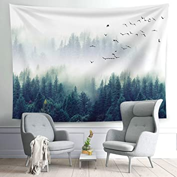 All Smiles Wall Hanging Fog Forest Tapestry Hippie Mountains Art Black Nature Tree With Wild Geese